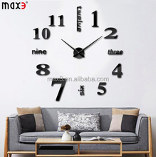 Original Modern DIY Large Wall Clock 3d Mirror Surface Sticker Home Decor Art Design New