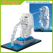 Loz World Famous Architecture Merlion Singapore Mini 3D Model Building Blocks DIY Assembly Bricks Toys for Children