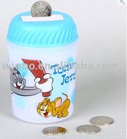 music cartoon plastic kids coin bank money box