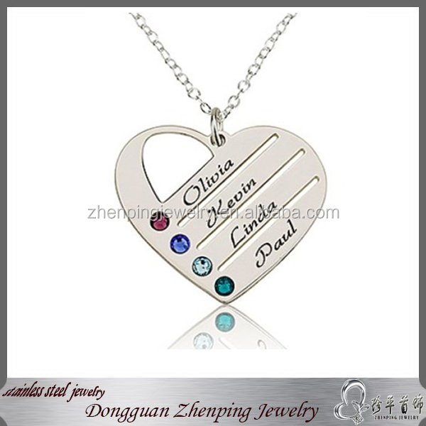 2015 china big supplier engraved name pendants for best friend latest trendy silver heart pendant to engrave