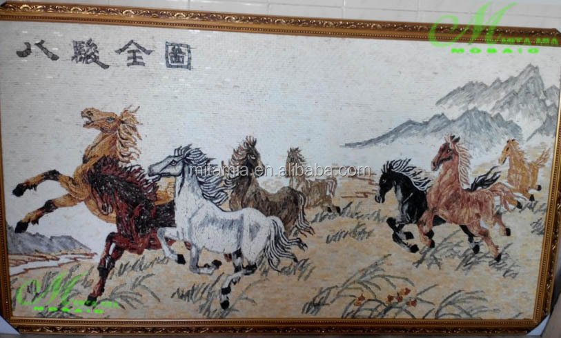 Chinese traditional stone carving mosaic mural eight horses