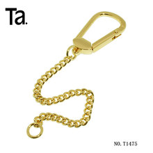 Good quality custom golden metal chain with snap hook for handbag