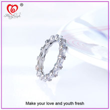 Fashion Women Engagement Jewelry White Gold Plating Crystal Zircon Female Wedding Finger Rings