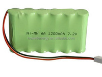 Factory Verified China Supplier AA 1200mAh 7.2V 6 cells rechargeable NiMH battery pack for GPS