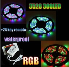 5m RGB 300 LED 3528 SMD 12V flexible light 60 led/m 3528 waterproof LED strip tape with Remote Controller