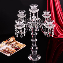 Luxury factory wholesale 5 hands tall crystal candelabra for wedding centerpiece