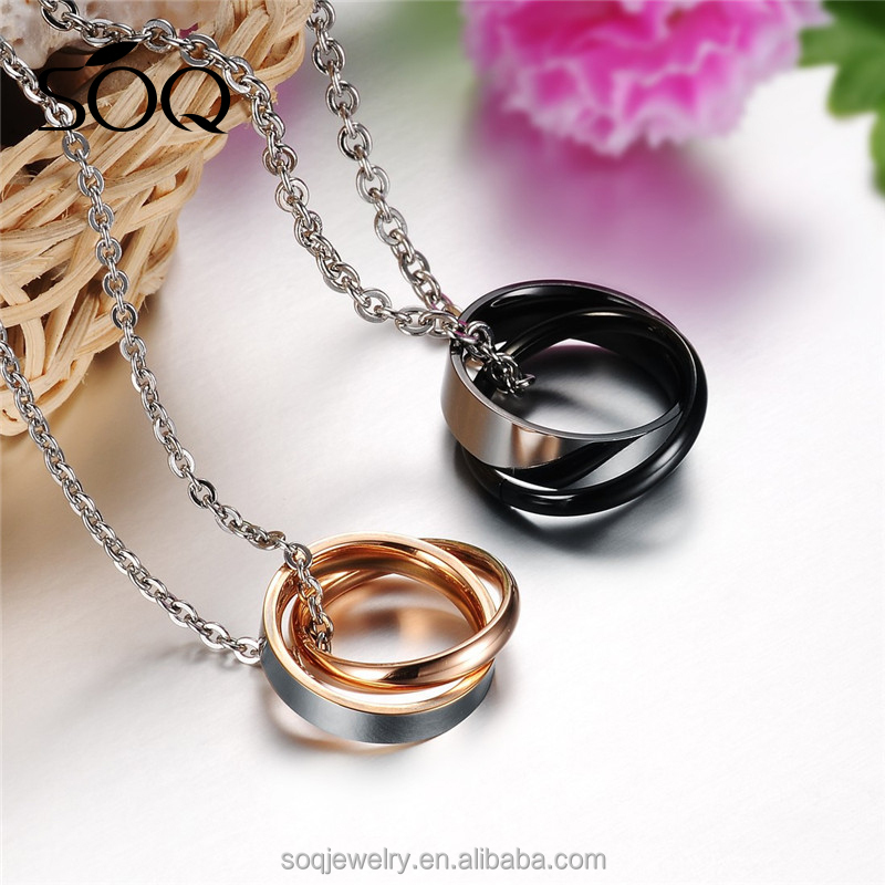Fashion Valentine gift Blank black gold polished Couple Rings pendant necklace For Boys and Girls