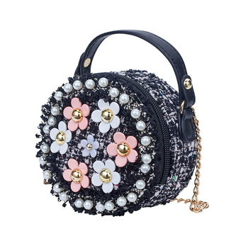S64867A Lovely flower Design leather bags for kids beautiful pearl princess backpack