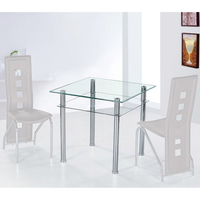 Jayzee Clear and Frosted Glass Dining Table