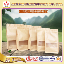 Square bottom Kraft paper Stand up drip coffee bags with zipper lock and window