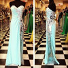 Floor Length Sky Blue Sweetheart Crystal Beading Custom Made Long Evening Party Wear ED145 Real Sample New Evening Dress