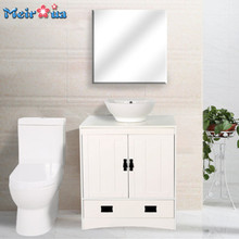 S008American style white cheap single sink bathroom vanity cabinet with mirror