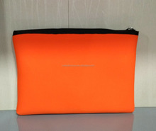 Custom orange neoprene fashion travel clutch zipper makeup kit bag toiletry cosmetic pouch