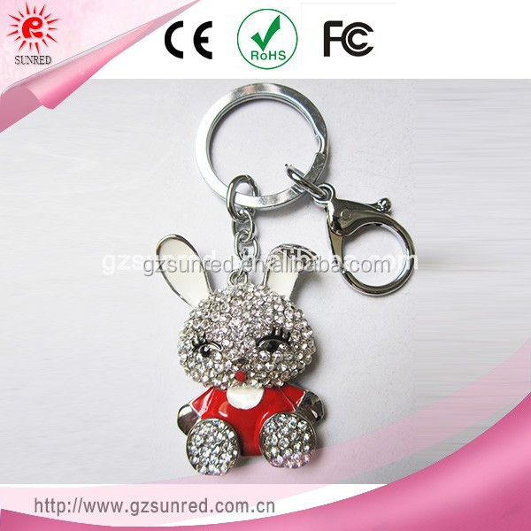 Cute Design High Evaluation Rabbit Key Chain Rhinestone Keychain