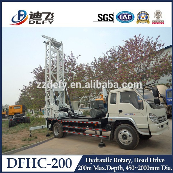 Hydraulic Truck-mounted Water Well Drilling Rigs DFHC-200 for Sale