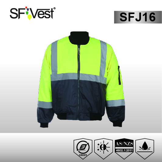 100% Polyester Security Reflective Sports Motorbike Winter Man Bomber Jacket