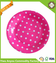 Printed Pink Polka Dot Paper Plate For Party