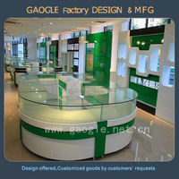 round shap shop corner counter glass display