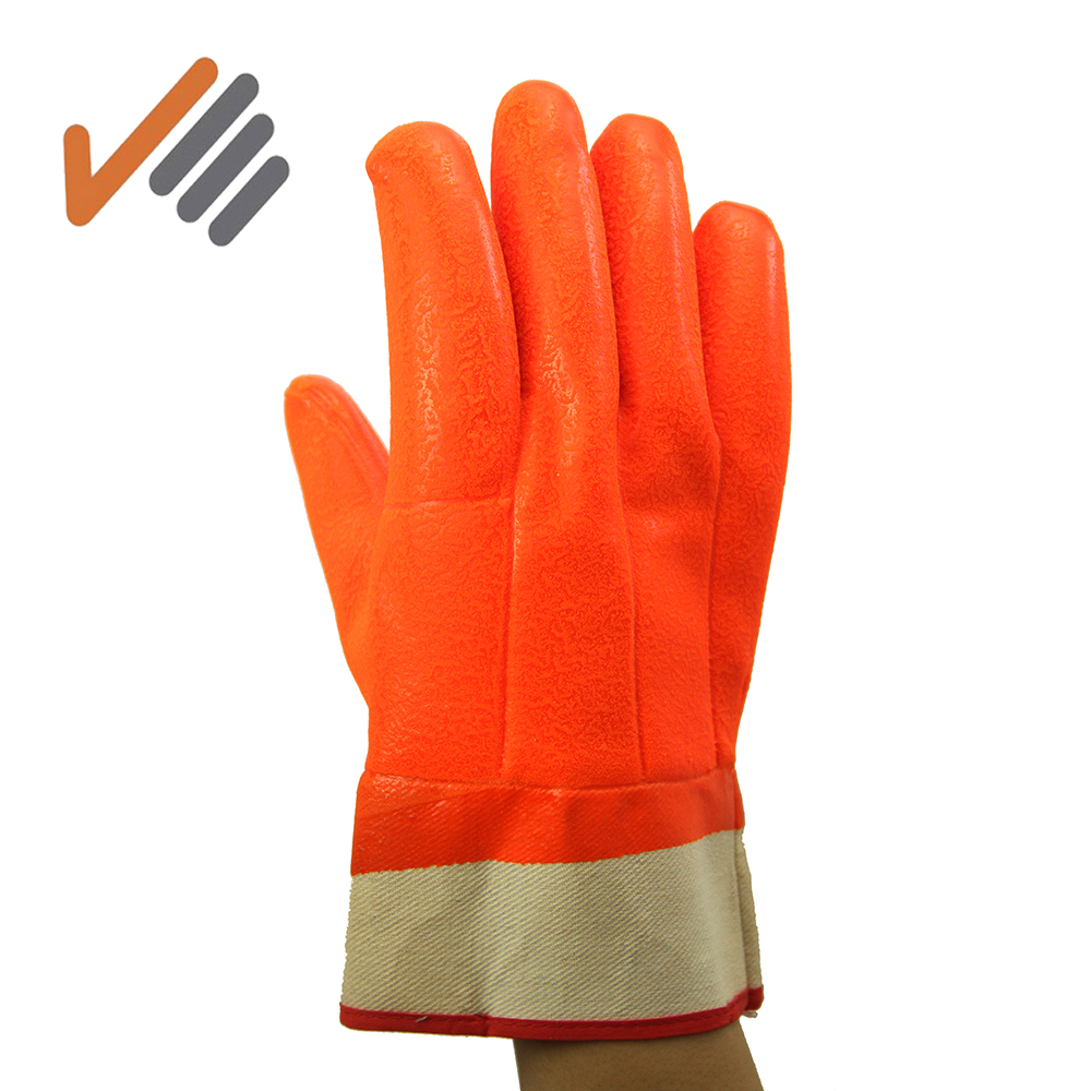 Fluorescent PVC Glove used in cold weather,car wash glove