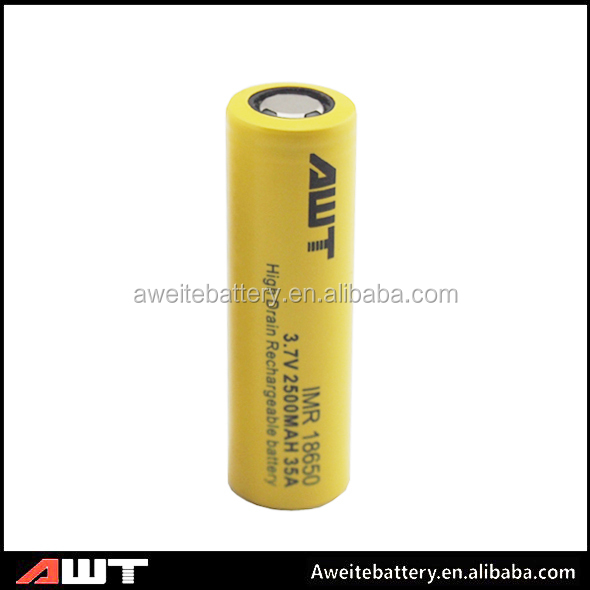 High quality Aweite 18650 35amp 2500mah rechargeable 3.7 li-ion battery 4 volt battery