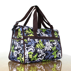 Sublimation floral pattern shoulder duffel fancy travel bag, offset printed flower best sports gym duffle holdall travel bag