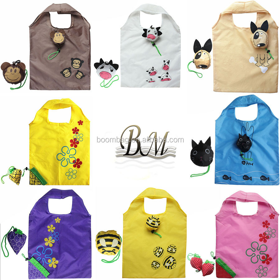 Novelty Cartoon Cat + Monkey + Nemo Fish + Dog + Bee Animal Shaped Reusable Foldable Shopping Bag
