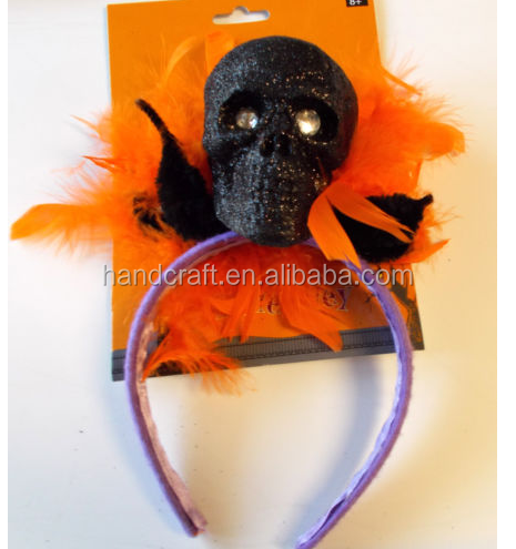 Halloween Black Skull Headband Costume Accessory