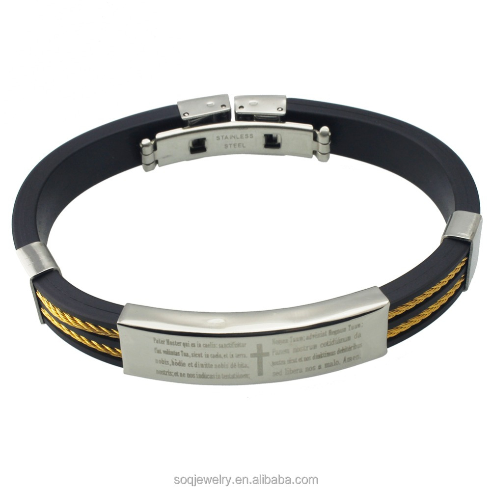 Mens Stainless Steel Spanish Prayer silicon bracelet with gold cable