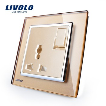 Livolo Manufacturer 1 Gang 1Way Push Button Switch 3 Pins Multifunction 13A Socket VL-W2Z1C-13