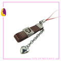 DIY leather mobile phone chains with metal long chain key metal ring