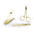 Fashion Gift Nail Clipper Scissors Tweezer Beauty 3pcs Gold Color Manicure Set