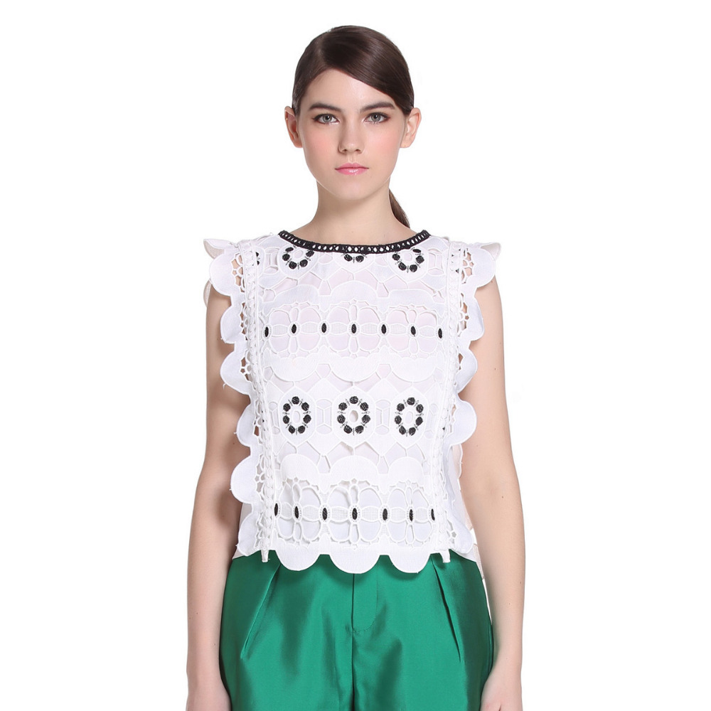 2016 Latest Fashion White Patch Work In Blouse Neck Designs