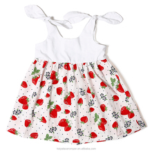 Baby Dress Strawberry Printed Vintage Dress Toddler Girl Dresses