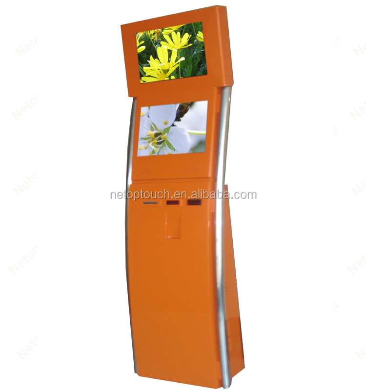 Customized self kiosk payment machine accept cash /coin/QRcode scanner