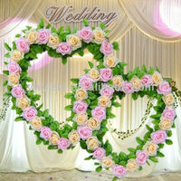 Artificial Wire Heart Shaped Wedding Flower Decorative Wreath