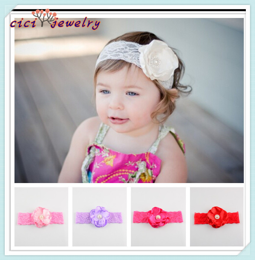 2016 Fashional Baby Hairbands /Lace Headbands Children Infants Chiffon Flower headbands