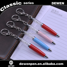 fancy 2 in 1 crystal pen with keychain pendant metal ball pen