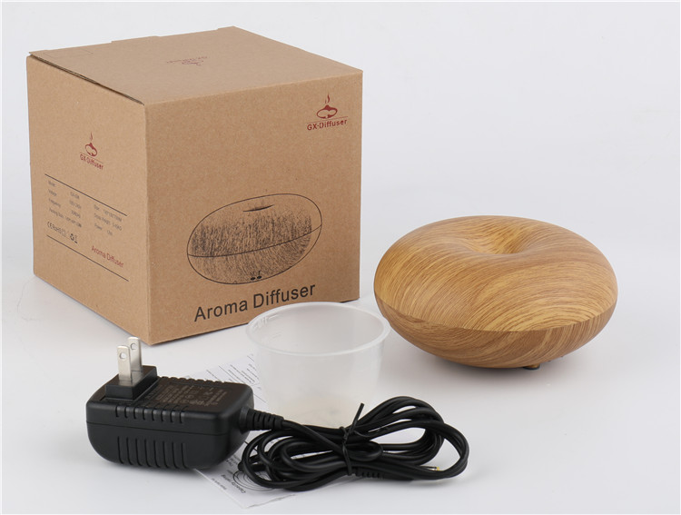 2018 tabletop 12V bamboo doughnut aroma essential oil diffuser for hotels