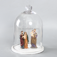 Decorative glass dome with antique wooden base for wholesale