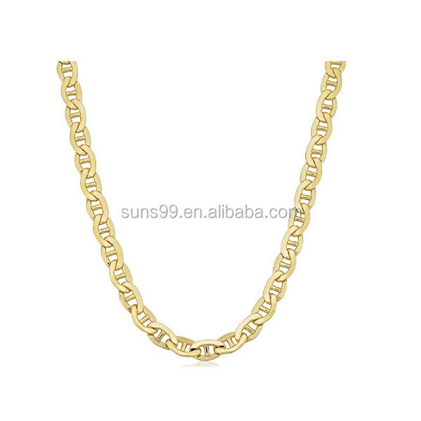 New Gold Chain Design Men 14k Yellow Gold Filled Men's Heavyweight 7.8mm Mariner Link Chain Necklace