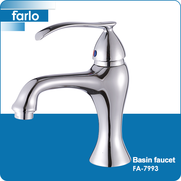 FARLO brass deck mounted single hole tall basin mixer taps