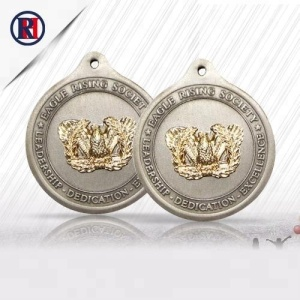 Wholesale latest OEM antique silver with gold medal trophy and military medal