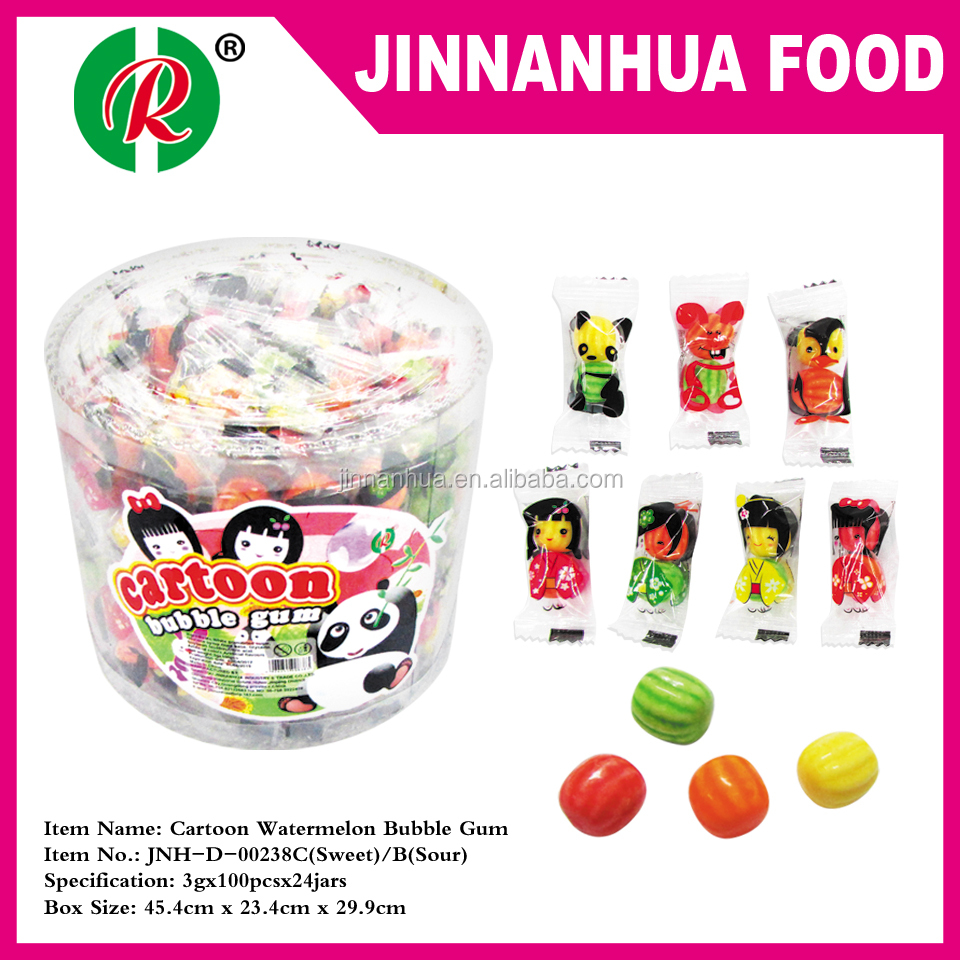 2 in 1 cartoon watermelon bubble gum