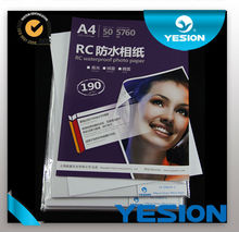 Yesion supplier 270g A4 RC woven photo paper waterproof