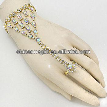 Hand Chain Rhinestone GOLD Lattice Bracelet Ring Celebrity Jewelry