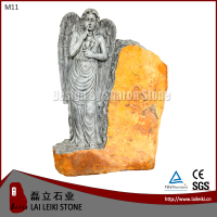 German Style Basalt Natural Stone Angel Tombstone Carving