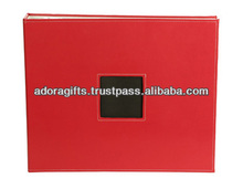 Indian manufacturers red cover leather photo album, crystal cover photo album