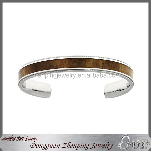 Wholesale Stainless Steel Wood Inlay Cuff Bracelet Men