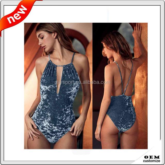 Custom sexy girl full photo one piece bodysuit women velvet swimwear