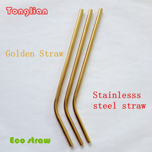 6mm Golden color Stainless steel drinking straws